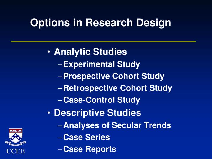 Options in Research Design