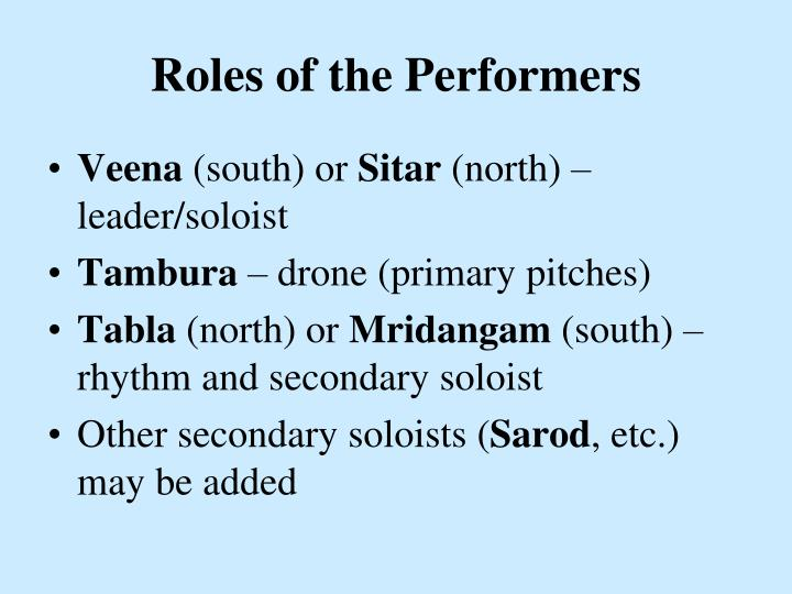 Roles of the Performers