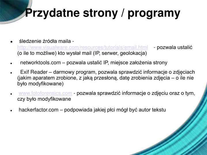 Przydatne strony / programy