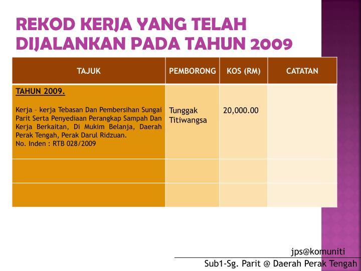 REKOD KERJA YANG TELAH DIJALANKAN PADA TAHUN 2009