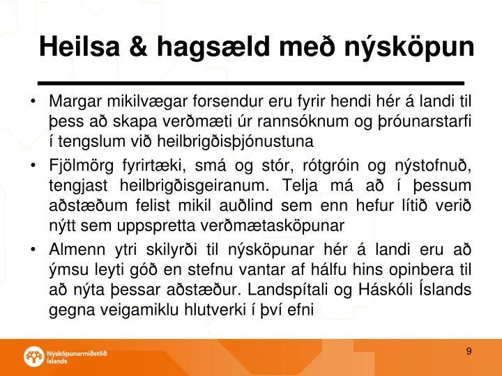 Heilsa & hagsæld með nýsköpun