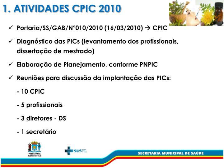 1. ATIVIDADES CPIC 2010