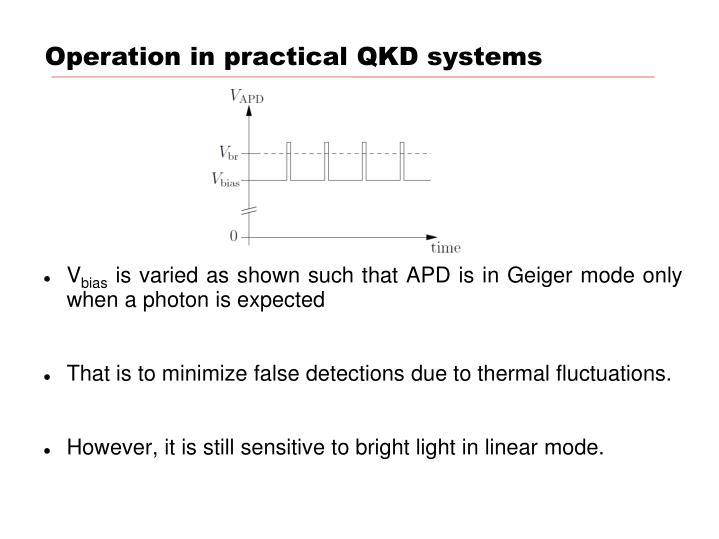 Operation in practical QKD systems