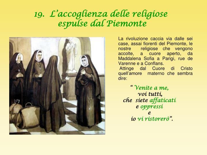 19.  L'accoglienza delle religiose