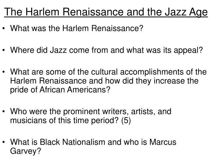 The Harlem Renaissance and the Jazz Age