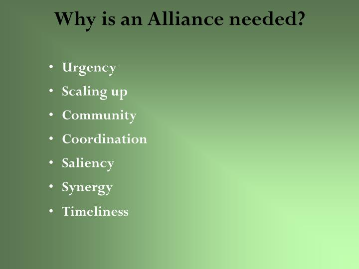 Why is an Alliance needed?