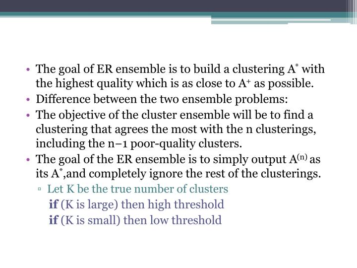The goal of ER ensemble is to build a clustering A