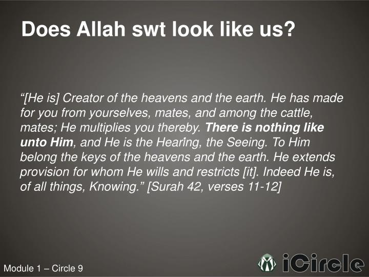 Does Allah swt look like us?