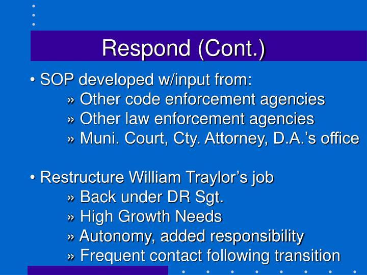 Respond (Cont.)