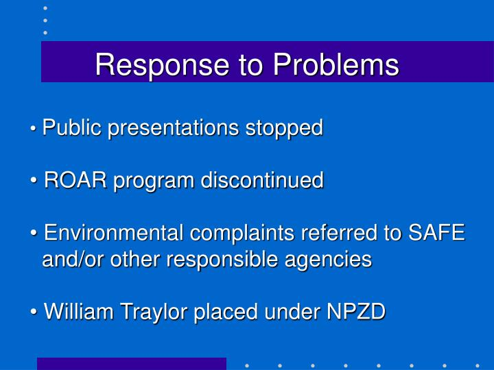 Response to Problems