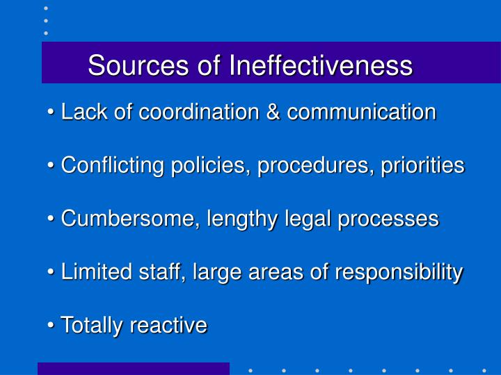 Sources of Ineffectiveness