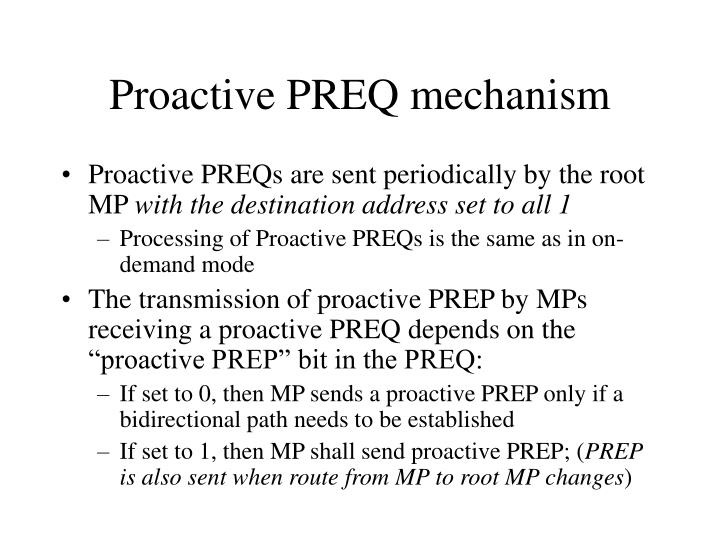Proactive PREQ mechanism