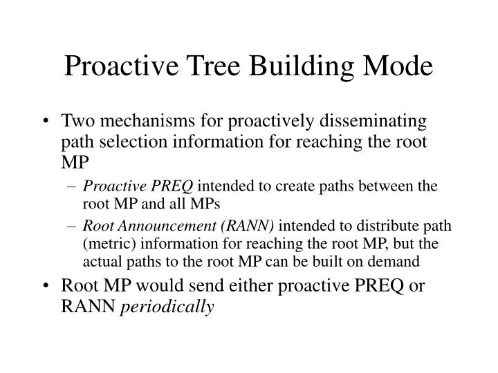 Proactive Tree Building Mode