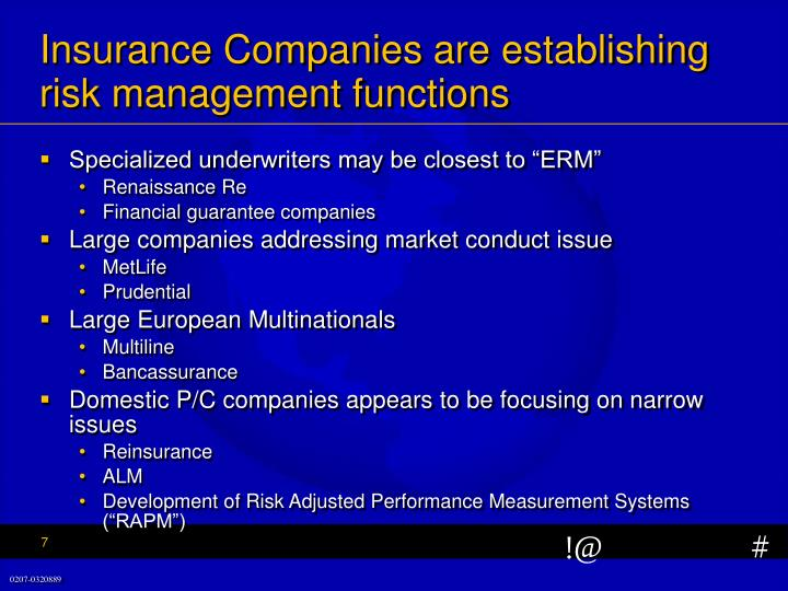Insurance Companies are establishing risk management functions