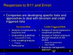 responses to 9 11 and enron