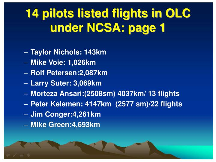 14 pilots listed flights in OLC under NCSA: page 1