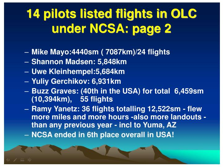 14 pilots listed flights in OLC under NCSA: page 2