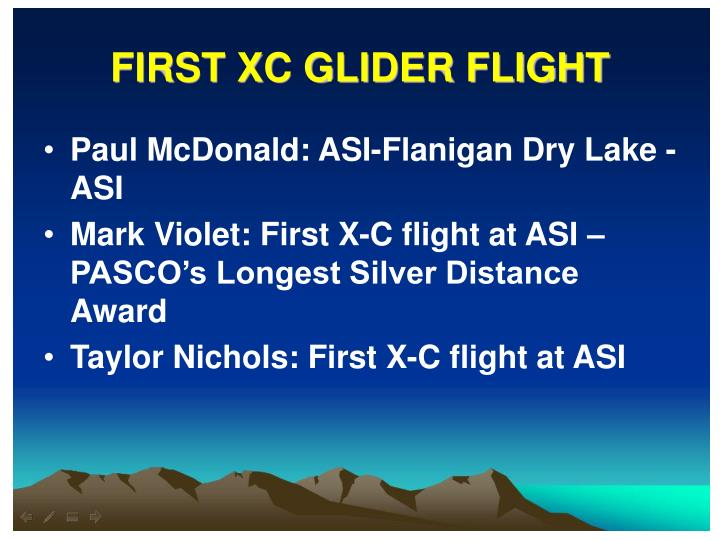 FIRST XC GLIDER FLIGHT