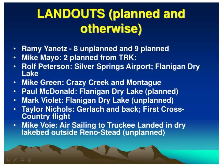 LANDOUTS (planned and otherwise)