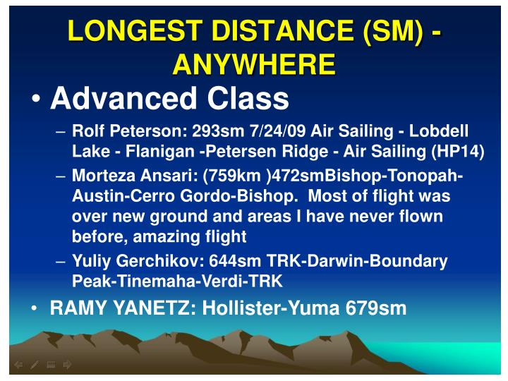 LONGEST DISTANCE (SM) - ANYWHERE