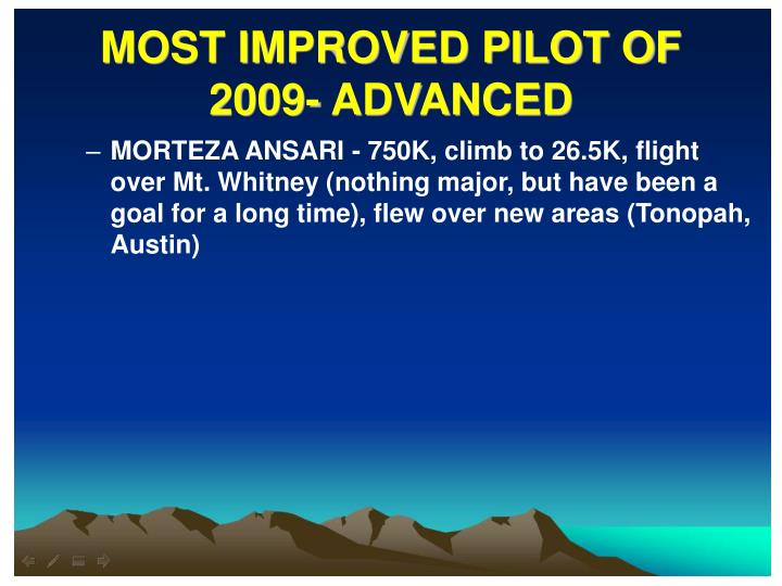 MOST IMPROVED PILOT OF 2009- ADVANCED
