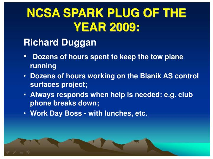 NCSA SPARK PLUG OF THE YEAR 2009:
