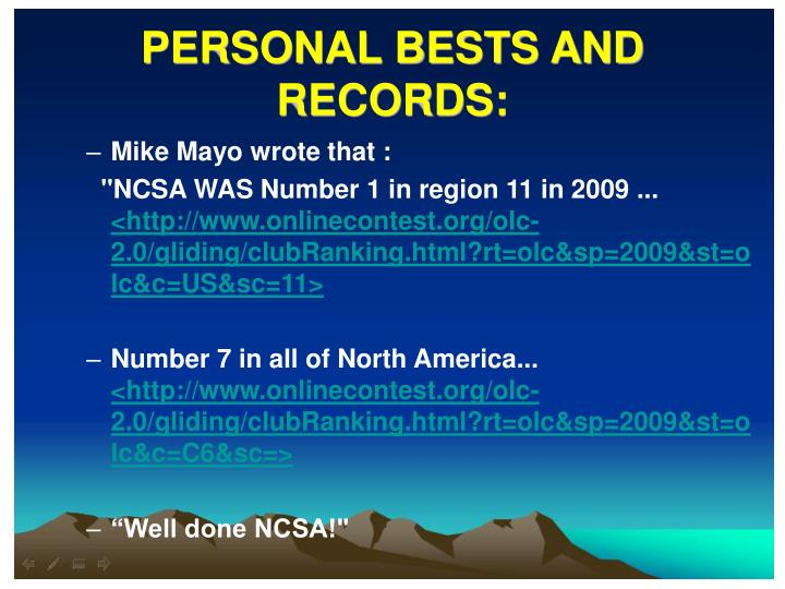 PERSONAL BESTS AND RECORDS: