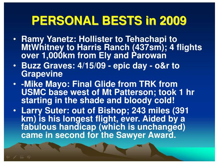 PERSONAL BESTS in 2009