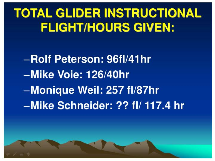 TOTAL GLIDER INSTRUCTIONAL FLIGHT/HOURS GIVEN: