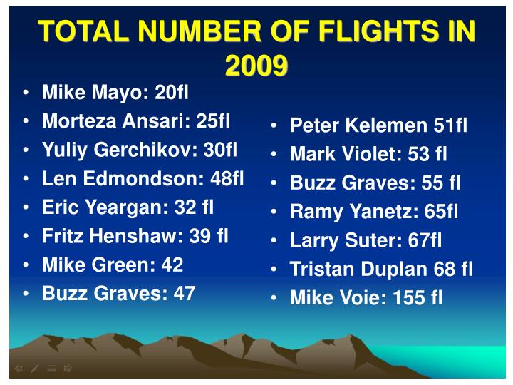 TOTAL NUMBER OF FLIGHTS IN 2009
