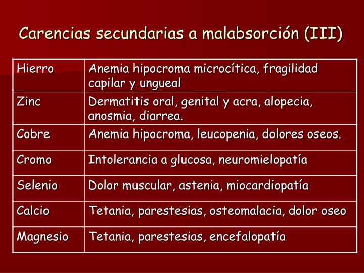 Carencias secundarias a malabsorción (III)