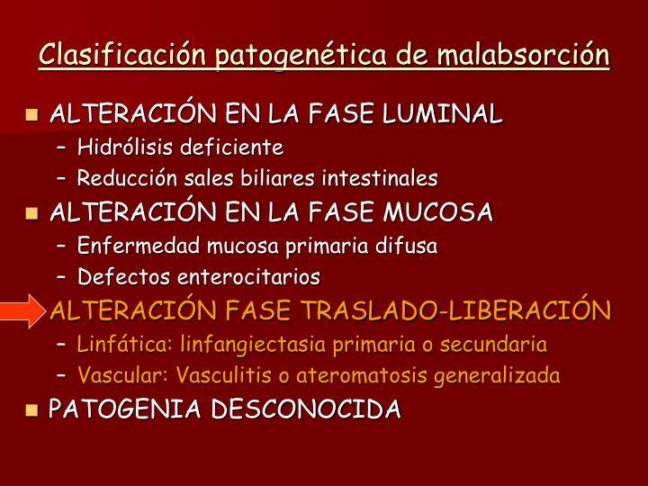Clasificación patogenética de malabsorción