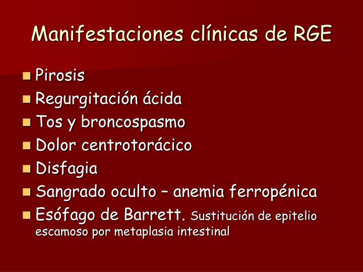 Manifestaciones clínicas de RGE