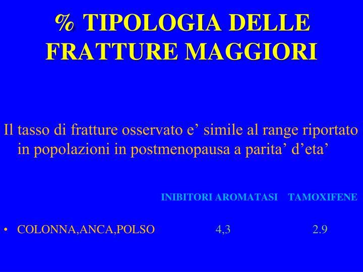 % TIPOLOGIA DELLE FRATTURE MAGGIORI