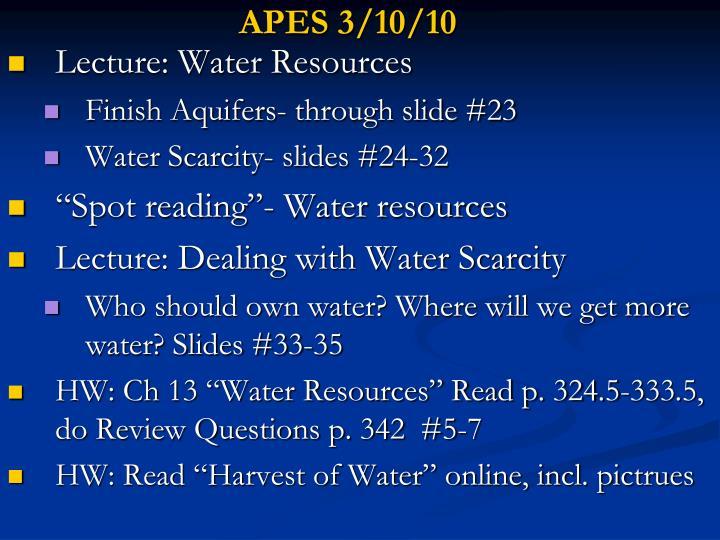 APES 3/10/10