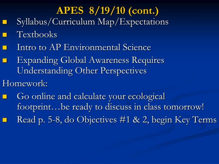 APES  8/19/10 (cont.)