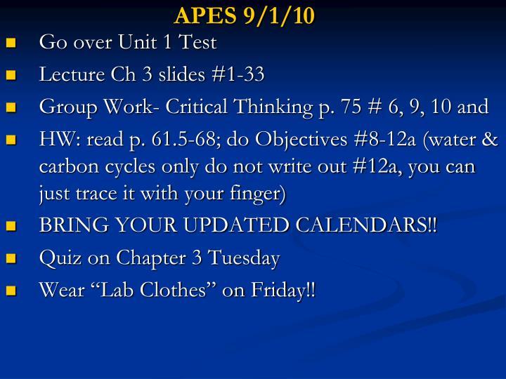APES 9/1/10