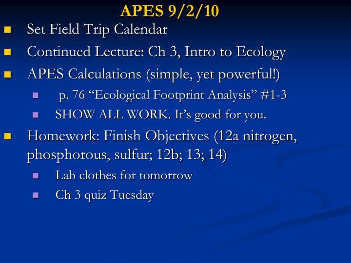 APES 9/2/10