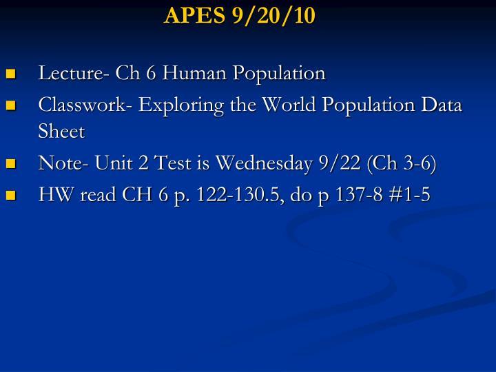 APES 9/20/10