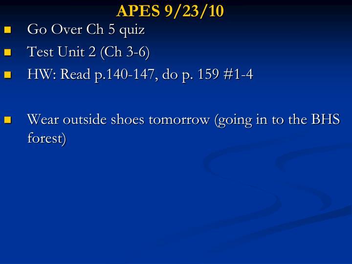 APES 9/23/10