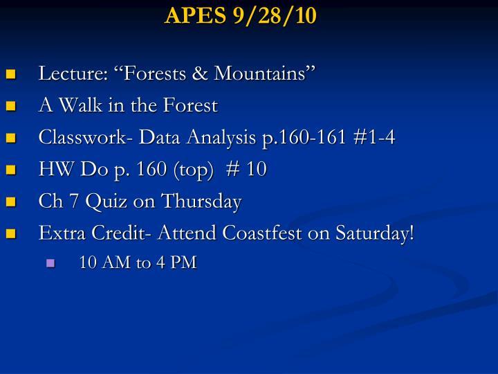 APES 9/28/10