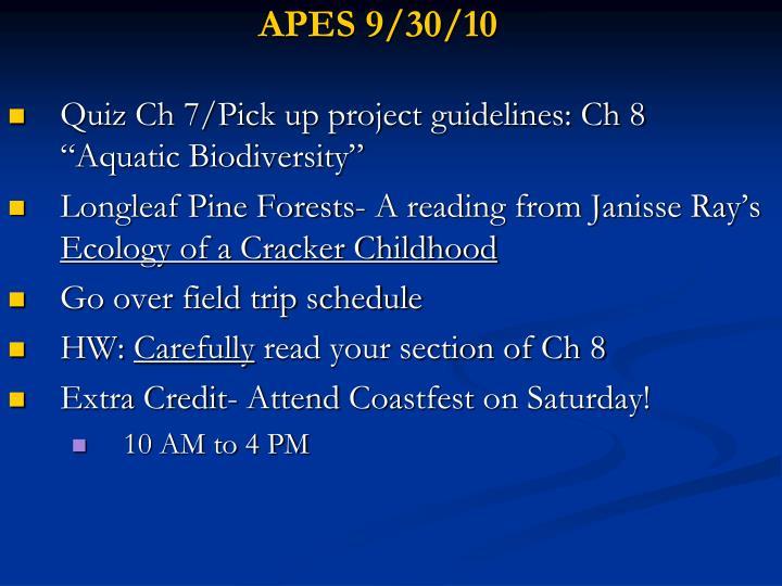 APES 9/30/10