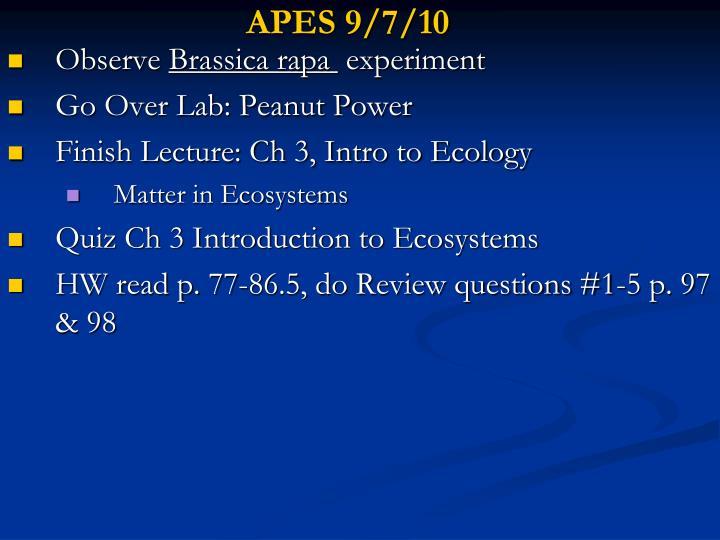 APES 9/7/10