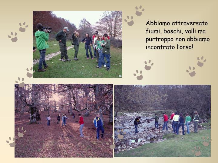 Abbiamo attraversato fiumi, boschi, valli ma purtroppo non abbiamo incontrato l'orso!