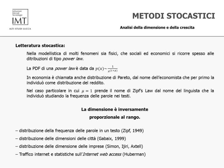 METODI STOCASTICI