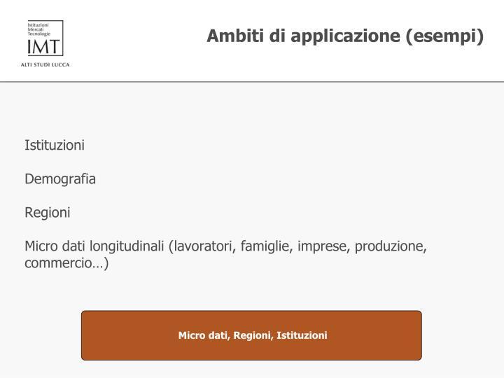 Ambiti di applicazione (esempi)