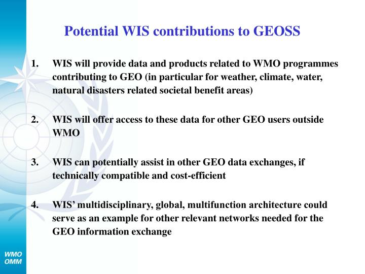 Potential WIS contributions to GEOSS