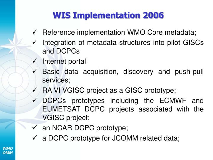 WIS Implementation 2006