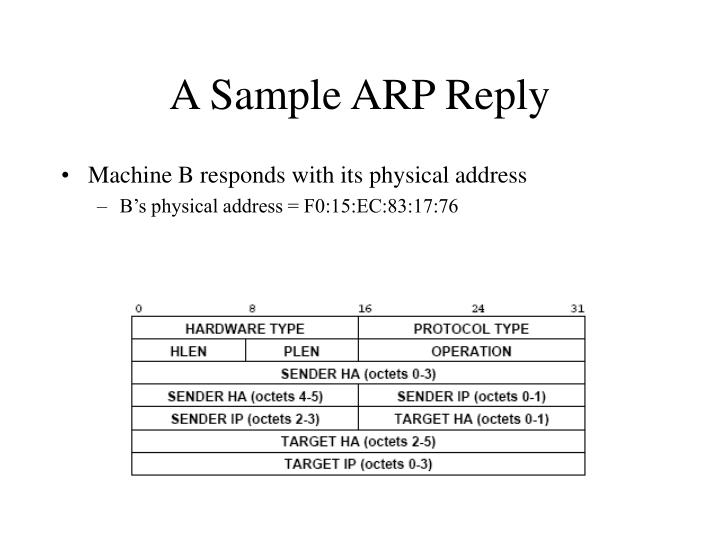 A Sample ARP Reply