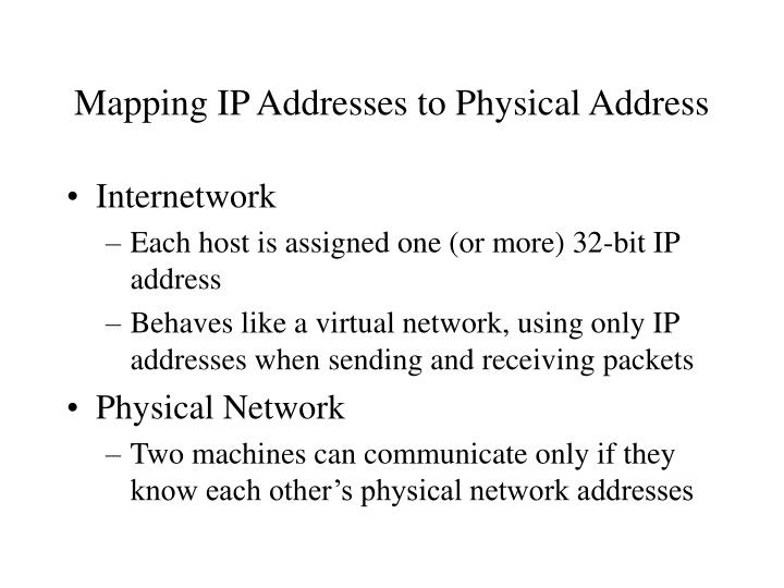 Mapping IP Addresses to Physical Address